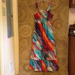 Fashion Bug Maxi Dress Multicolor Sleeveless LN
